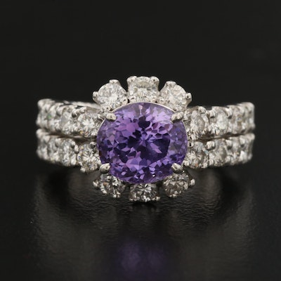 Platinum 4.16 CT Sapphire and 1.90 CTW Diamond Halo Ring