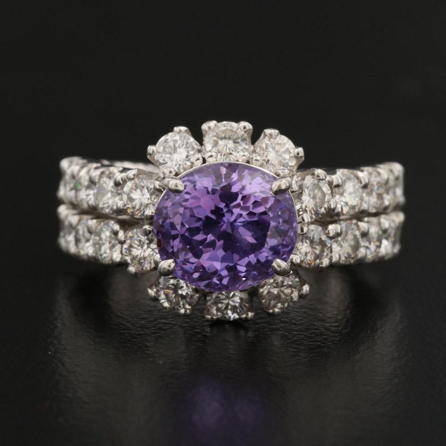 Platinum 4.16 CT Sapphire and 1.90 CTW Diamond Halo Ring