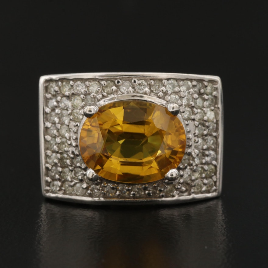 14K 4.45 CT Yellow Sapphire and Diamond Ring