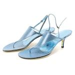 Judith Leiber Metallic Blue Bermuda Karung Skin Thong Sandals