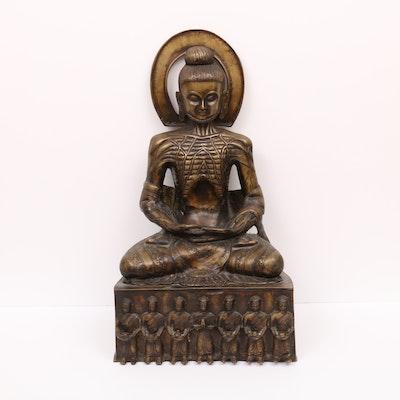 Emaciated Buddha Brass Sculpture, 20th Century