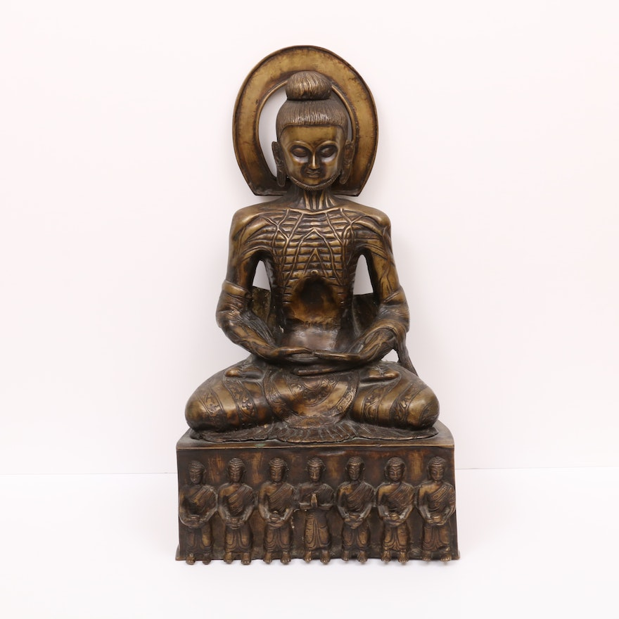 Emaciated Buddha Brass Sculpture, 20th Century