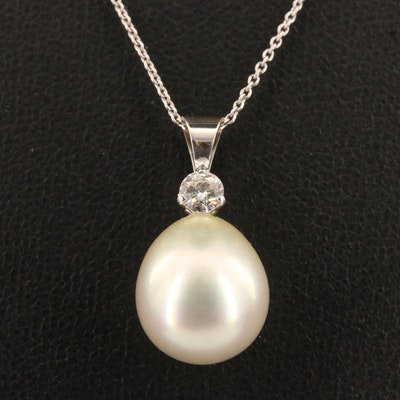 14K Pearl and Diamond Pendant on 18K Cable Necklace