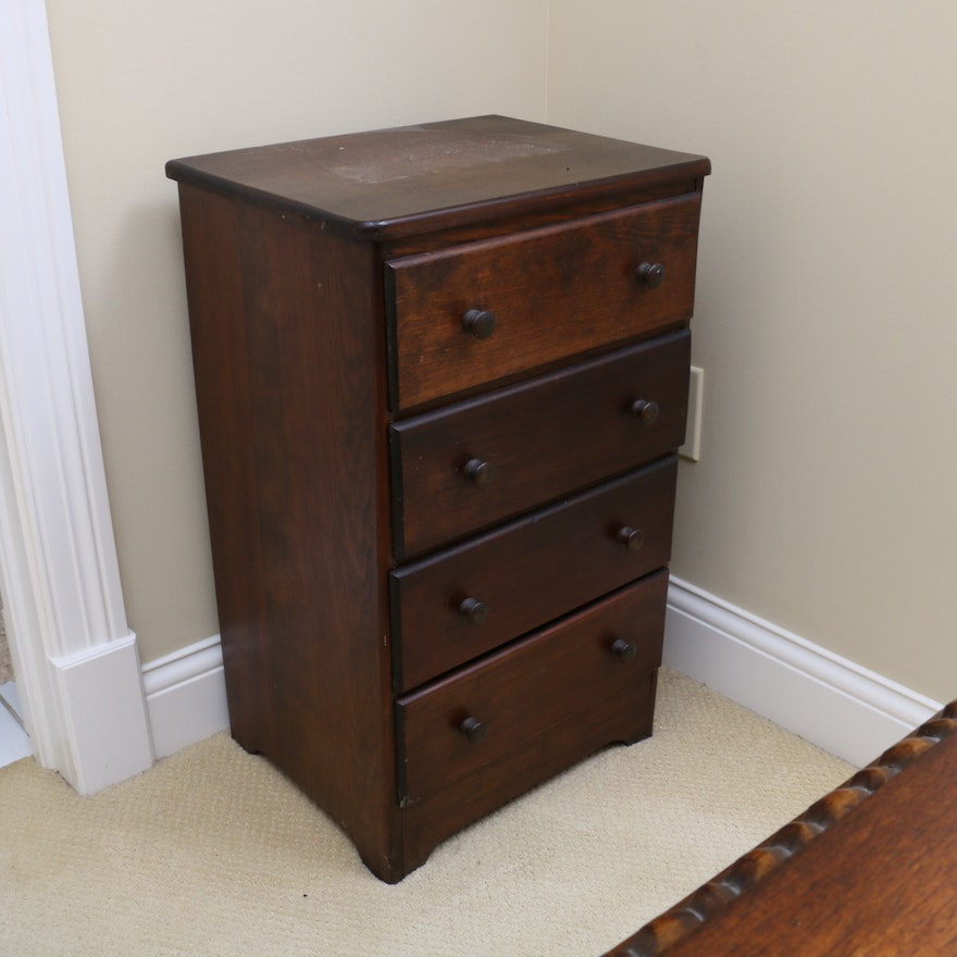 Primitive Style Small Pine Chest of Drawers, Mid-20th Century