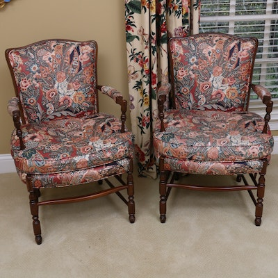 Pair of Walnut-Finished Upholstered Armchairs, 20th Century