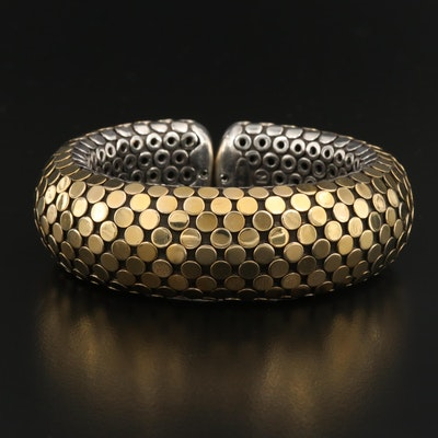 "John Hardy ""Dot"" Sterling Silver and 18K Cuff"