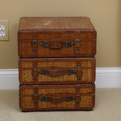 Wicker Accent Table in the Form of Suitcases, Late 20th Century