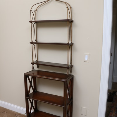 Wall Bookshelf and Mahogany Bookcase, Late 20th Century