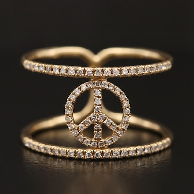 14K Diamond Double Band Ring with Peace Sign