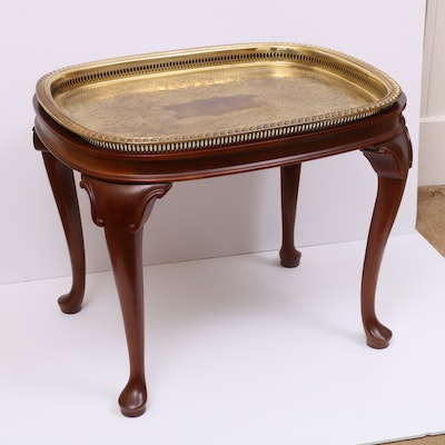 Queen Anne Style Brass Tray on Walnut Stand, Late 20th Century
