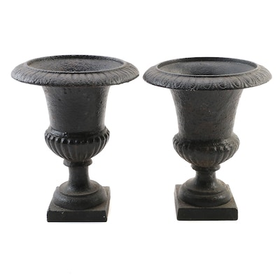 Pair of Small Neoclassical Style Cast Iron Garden Urns