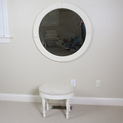 Round Vanity Mirror and Upholstered Stool, Late 20th Century