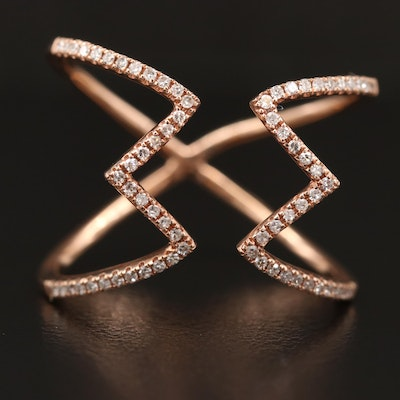 14K Rose Gold Open Shank Minimalist Zig Zag Diamond Ring