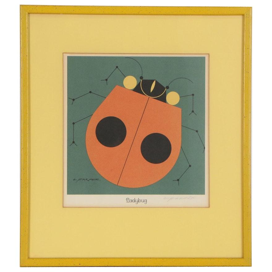 "Charley Harper Lithograph ""Ladybug"", 1972"