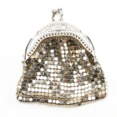 Silver Tone Flat Metal Mesh Coin Purse with Kiss Lock Clasp