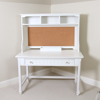 Farmhouse Style White Painted Desk, Shelf and Tray, 20th Century