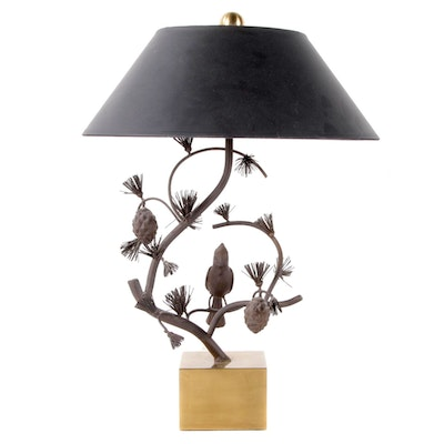 Cast Metal Cardinal on Pine Boughs Table Lamp with Black Shade