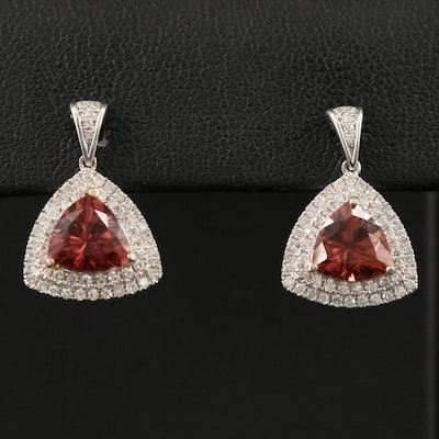 14K Tourmaline and Diamond Drop Earrings