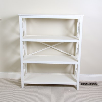 Farmhouse Style White Painted Wooden Open Shelf Bookcase, 20th Century