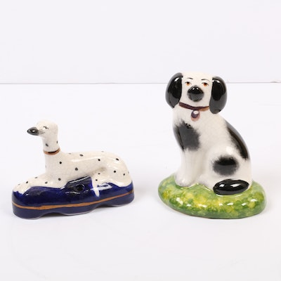 Staffordshire Ware Hand-Painted Greyhound and Spaniel Dog Figurines, 20th C.