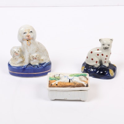 Staffordshire Style Hand-Painted Dog and Cat Figurines with Horse Trinket Box