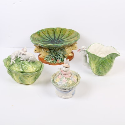 Fitz and Floyd, Vietri, and Other Rabbit Form Majolica Table Accessories