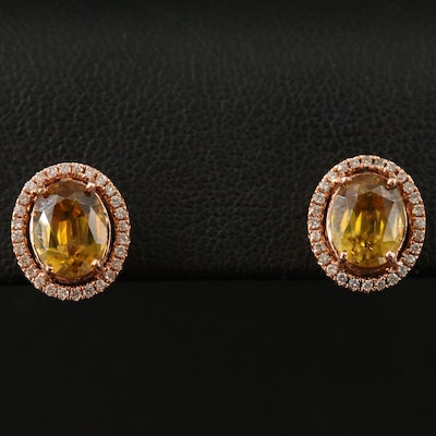 14K Rose Gold Sphene and Diamond Halo Stud Earrings