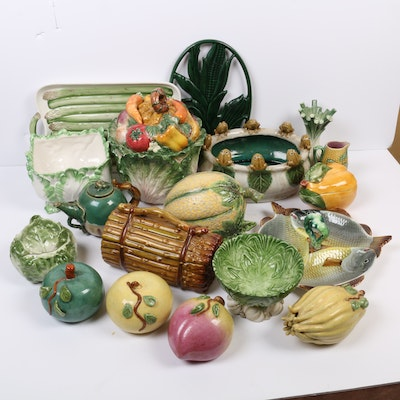 Fitz and Floyd with Other Majolica Fruit and Vegetable-Form Serveware
