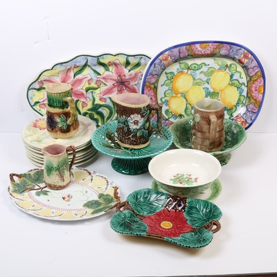 French and Italian Hand-Painted Majolica Serveware