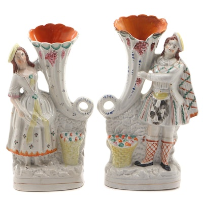 Pair of Staffordshire Trumpet Vases, Mid to Late 19th Century