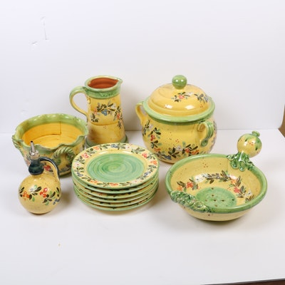 Bd'A French Hand-Painted Terracotta Tableware, 21st Century
