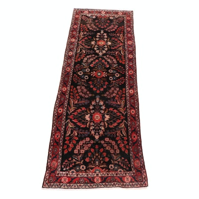 3'3 x 10' Hand-Knotted Persian Lilihan Runner Rug, 1970s