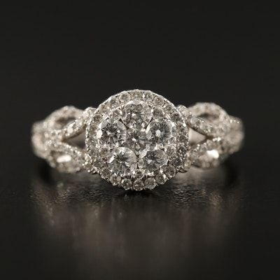 14K Diamond Cluster Set Halo Ring with Swirl Shoulders