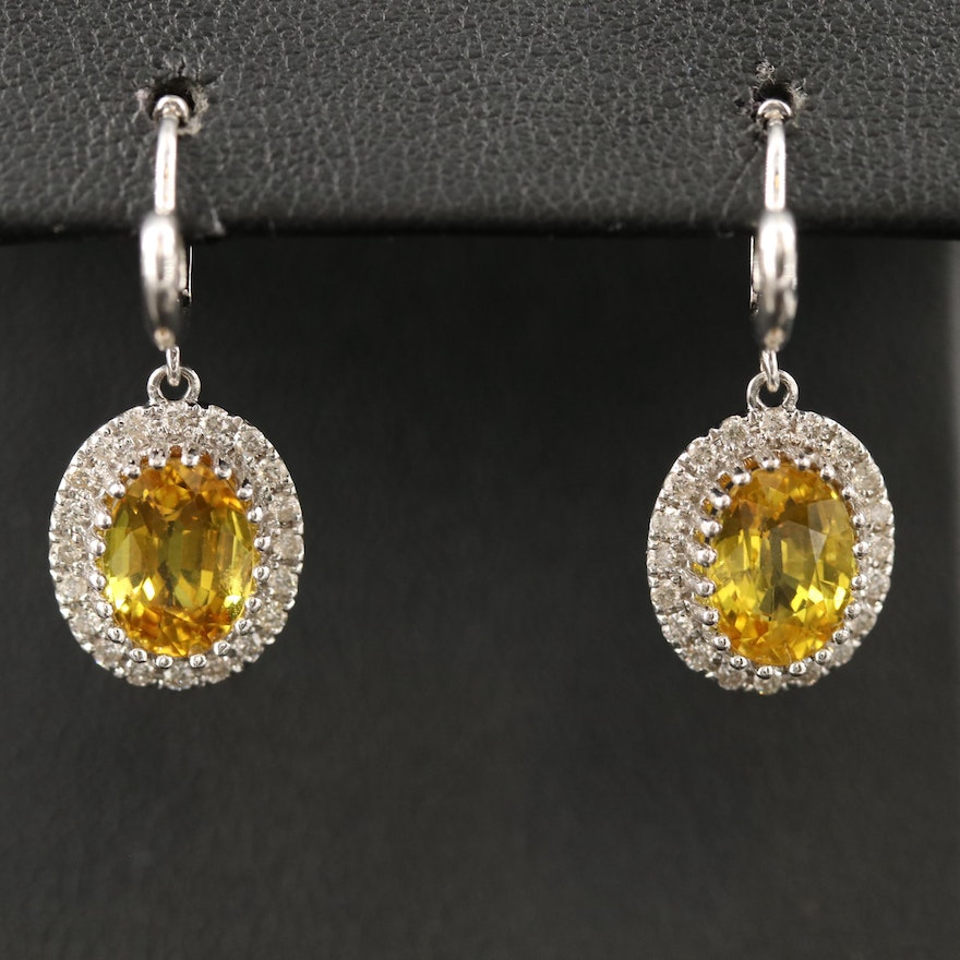 14K Oval Faceted Sapphire and Diamond Dangle Earrings