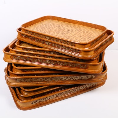 Chinese Style Lacquered Bamboo Trays, Mid to Late 20th Century