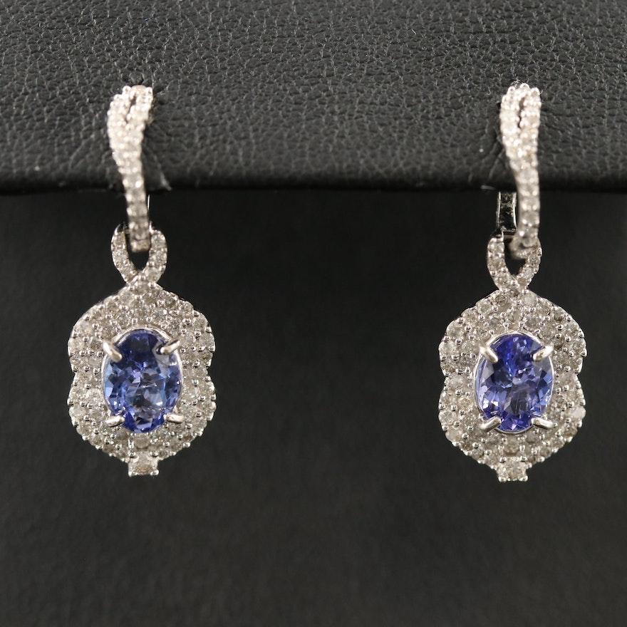 14K Tanzanite and Diamond Arabesque Drop Earrings