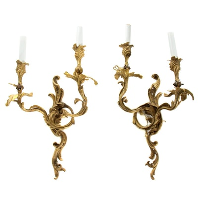 Pair of Neoclassical Style Candlestick Wall Sconces, 20th Century