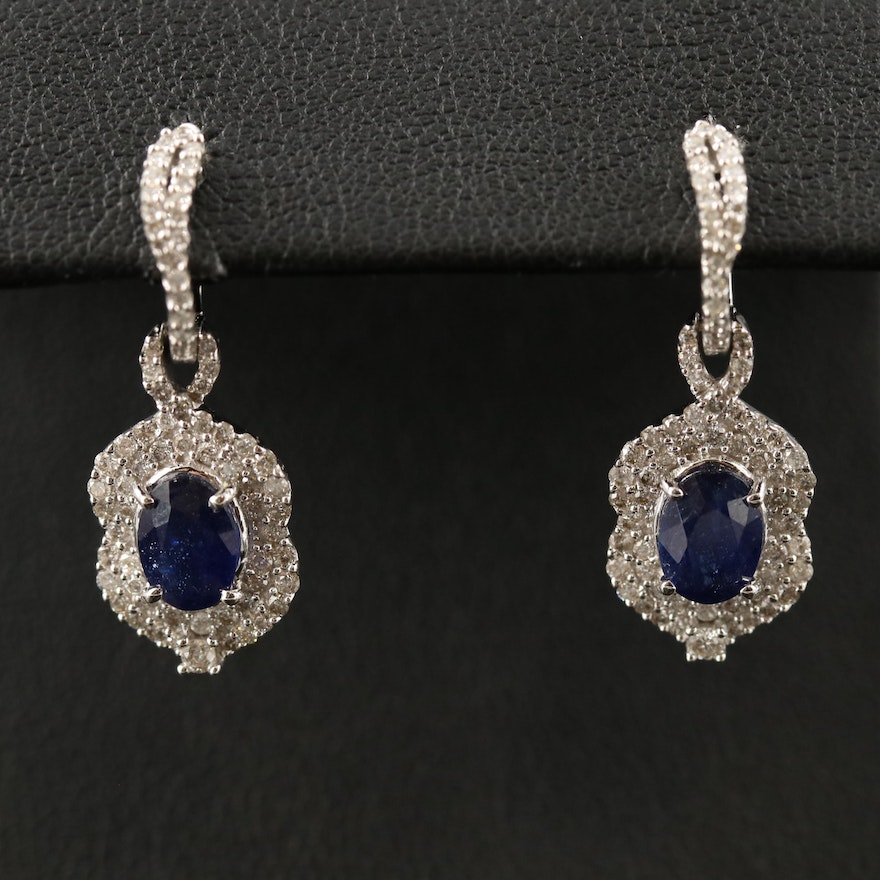 14K Corundum and Diamond Arabesque Drop Earrings