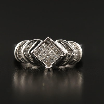 14K Diamond Step Ring