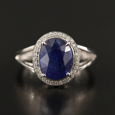 14K Corundum Split Shank Ring with Diamond Halo