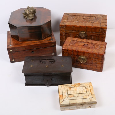 Decorative Boxes Including Italian Copper and Antique Mother of Pearl Inlay