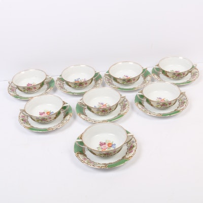 Gold Castle Japanese Porcelain Cream Soup Cups with Saucers, Set of Eight