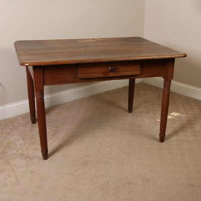 American Primitive Pine Work Table, 19th Century
