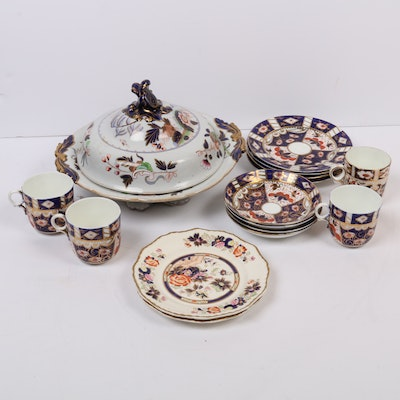 Anglo-Chinese Hand-Painted Bone China and Ironstone Dinnerware, Early 20th C.