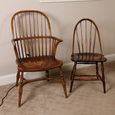 Marietta Chair Co. Stick Back and English Windsor Double Bow Stick Back Chairs