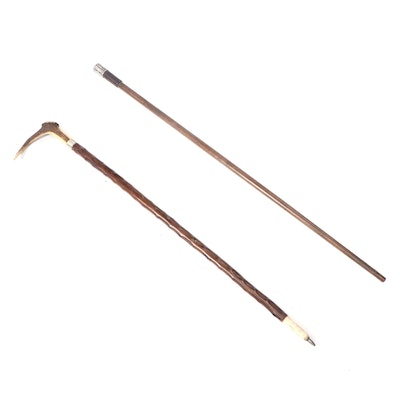 Sterling Silver, Antler, Bone, and Wood Walking Stick and Cane
