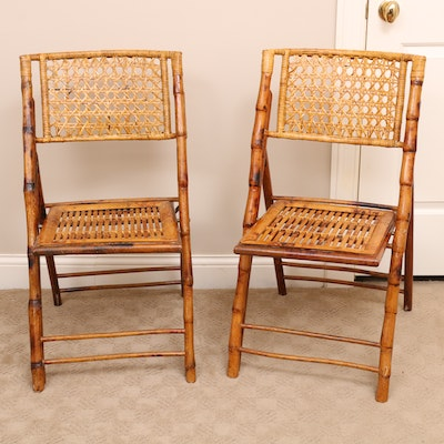 Pair of Bamboo and Cane Back Folding Chairs