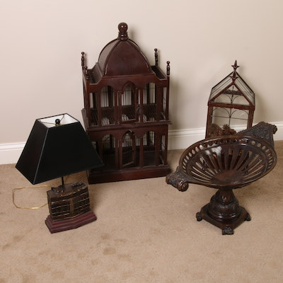 Victorian Style Bird Cage, Centerpiece Pedestal Bowl, Table Lamp and Terrarium