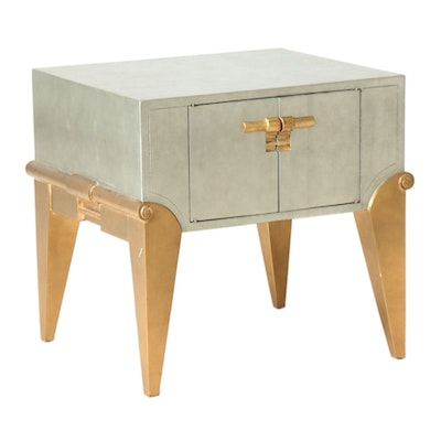 Modern Gold and Silver Painted Side Table