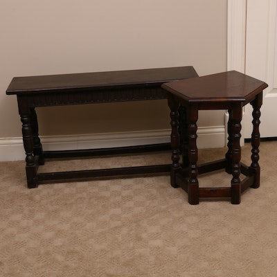 Jacobean Style Hardwood Bench and Side Table, 20th Century